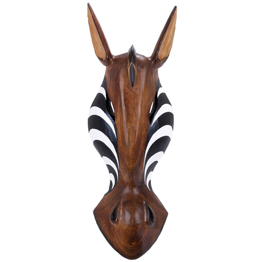 Decmode Wood Zebra Mask, Multi Color
