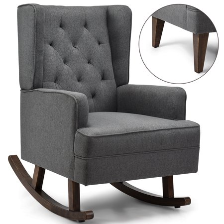 Costway 2 in 1 Tufted Rocking Chair Wingback Lounge Leisure ArmChair Fabric Rocker Grey Leisure Rocker Finish