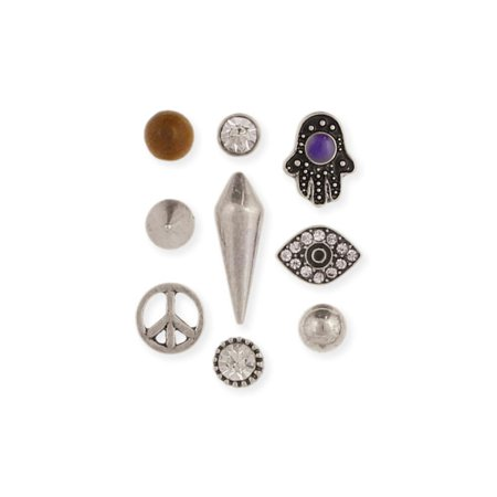 Zad Jewelry Peace Trilogy 9 Mismatch Single Stud Earrings  Silver