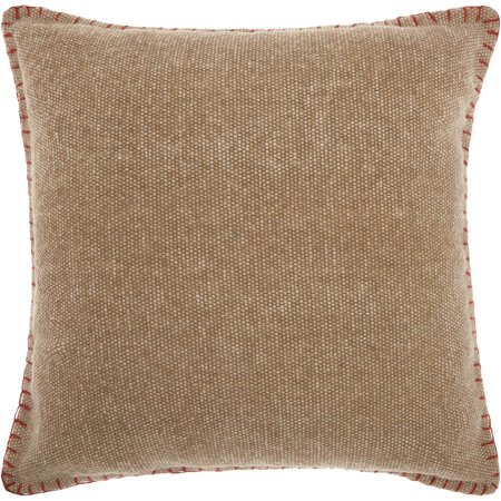 "Nourison Life Styles Stitched Border Decorative Throw Pillow, 20"" x 20"", Beige"