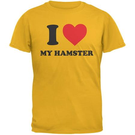 I Heart My Hamster Gold Adult T-Shirt - Adult Hamster