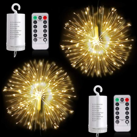 Reactionnx 2 Pack Firework Lights LED String Lights, 8 Modes Dimmable Fairy Lights with Remote Control, Battery Operated Hanging Starburst Lights with 80 LED Waterproof for Parties Home Decor - Ltm Party