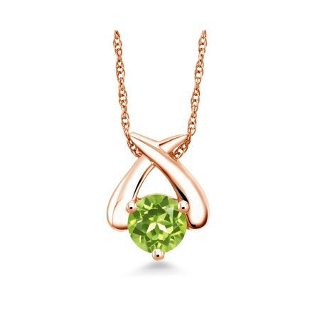 1.00 Ct Round Green Peridot 10K Rose Gold Pendant With Chain