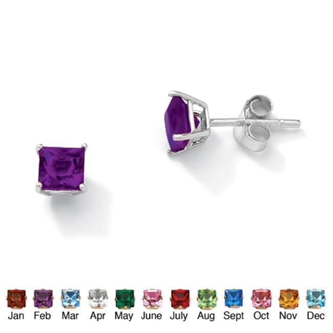 PalmBeach Jewelry 5062902 Sterling Silver Princess-Cut Birthstone Stud Pierced Earrings February - Simulated Amethyst