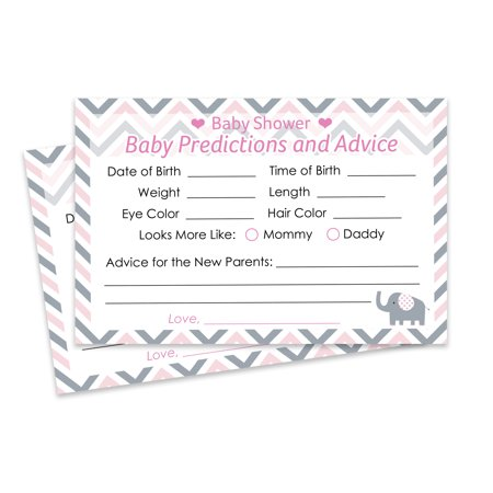 Pink and Gray Elephant Baby Shower Predictions and Advice Cards, 20 Count (Pink Gray Elephant Baby Shower)