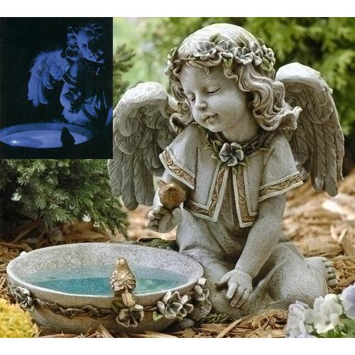 "14""  Solar Powered Bird Bath Angel Outdoor Garden Statue"