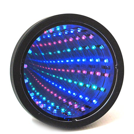 6'' Sensory Infinity Tunnel Mirror LED Light 3 Colors Wall Calm Desk Round Lamp - Led Infinity