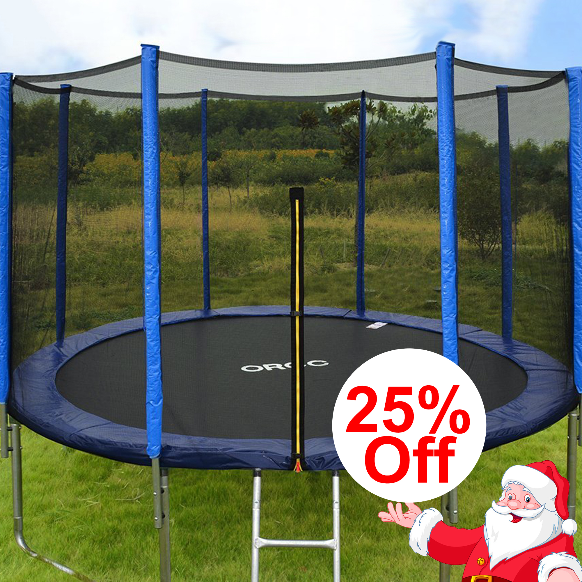 ORCC 12' 15' Trampoline with Enclosure, Ladder, Wind Stakes & Rain Cover - Blue/Green, Round