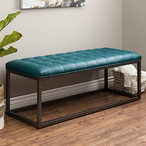 Mid Century Modern Button Tufted Teal Bonded Leather Bench with Metal Legs