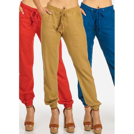 MEGA PACK DEAL! Womens Juniors (3 Pack) Solid Beige Red Royal Blue High Rise Drawstring Skinny Linen (Royal Blue Pants)