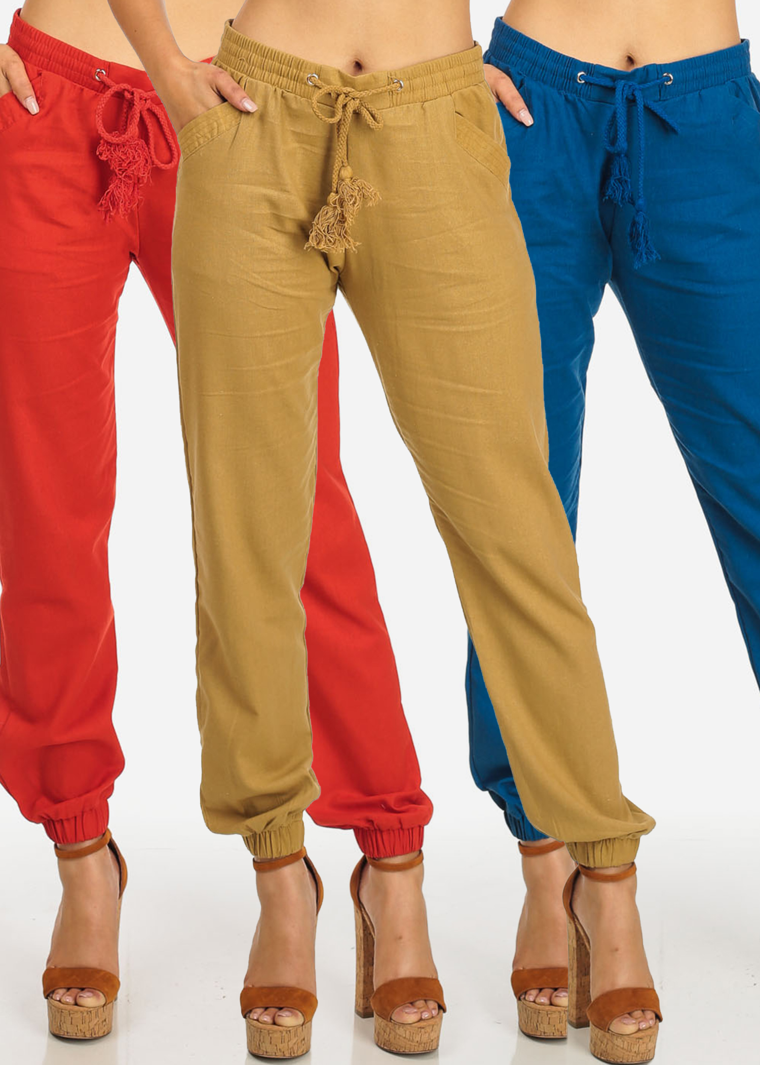 MEGA PACK DEAL! Womens Juniors (3 Pack) Solid Beige Red Royal Blue High Rise Drawstring Skinny Linen Pants