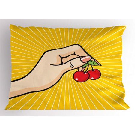 Fruit Pillow Sham Retro Pop Art Hand Holding a Couple of Cherries Sketch Design on Yellow Background, Decorative Standard Size Printed Pillowcase, 26 X 20 Inches, Multicolor, by Ambesonne - Pop Art Halloween Couple