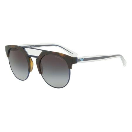 Emporio Armani 0EA4092 Round Womens Sunglasses - Size 53 (Grey Gradient / Matte Havana/Matte