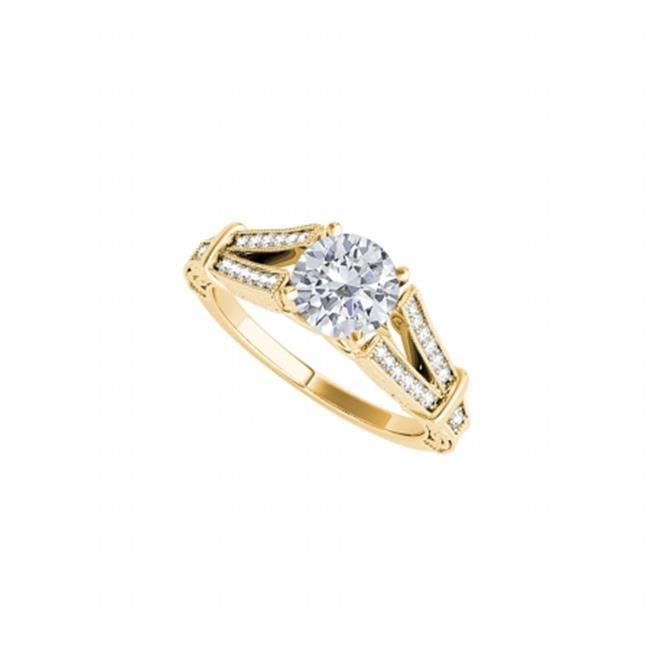 Fine Jewelry Vault UBNR50785EAGVYCZ Split Shank Design CZ Ring in 18K Yellow Gold Vermeil