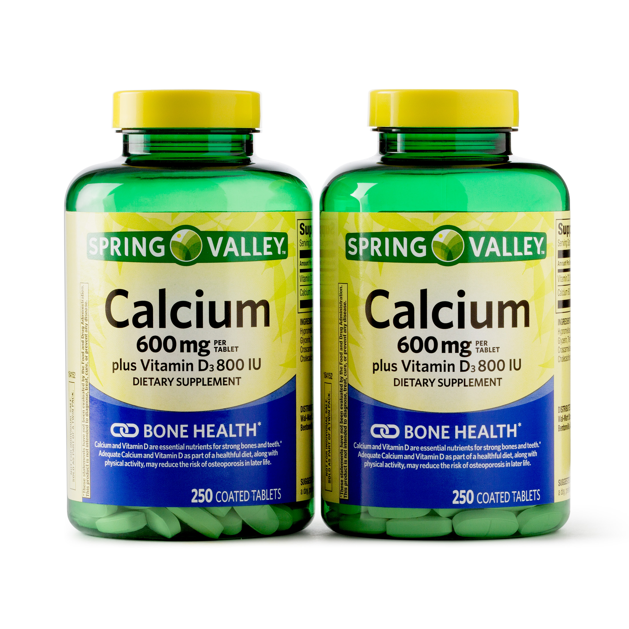 Spring Valley Calcium Coated Tablets, 600 mg, 250 Ct, 2 Pk