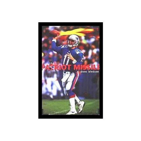 buyartforless FRAMED and SIGNED Drew Bledsoe Patriot Missile 1997 Rare 35x23 Sports Art Print Poster - Collectible New England Patriots Hall of Fame NFL