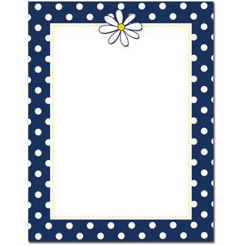 Great Papers 2014058 Navy Dots & Daisy Letterhead - 80 Sheets/Pack