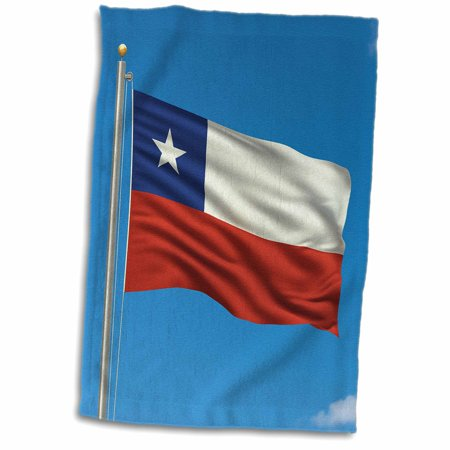 3dRose Flag of Chile on a flag pole with blue sky Chilean - Towel, 15 by