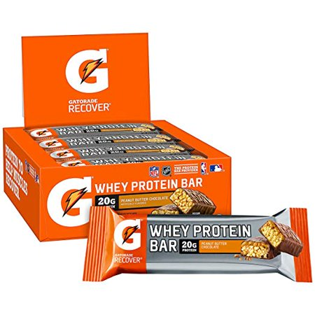 Gatorade Whey Protein Recover Bar, Peanut Butter Chocolate, 20g Protein, 12 Ct