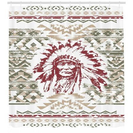 Native American Shower Curtain Retrp Eagle Heart Chief Trail Grunge Effect Ethnic Geometric Motif