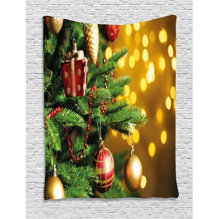 Christmas Tapestry, Close Up Decorated Christmas Tree Branches on Blurred Fairy Backdrop Picture, Wall Hanging for Bedroom Living Room Dorm Decor, 40W X 60L Inches, Gold Green Red, by Ambesonne