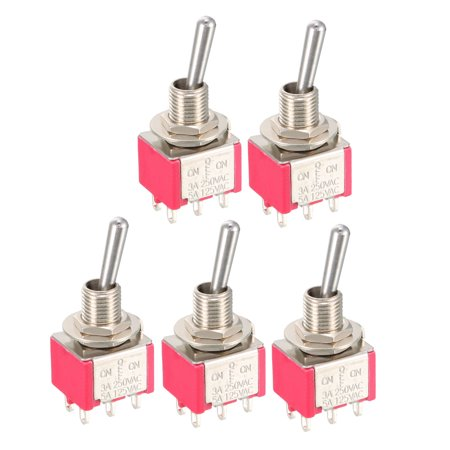 5Pcs AC 125V/5A 250V/3A ON/OFF/ON 3 Positions 6 Terminals DPDT Toggle Switch Ac 3 Position Toggle