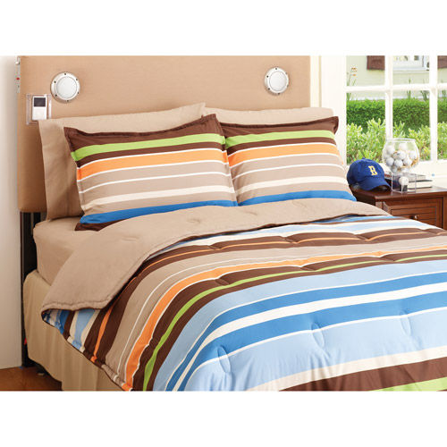 your zone reversible comforter & sham set, brown/santa cruz stripe