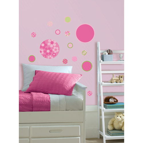 WallPops Gone Dotty MiniPops Wall Art Decals, Pink and Green