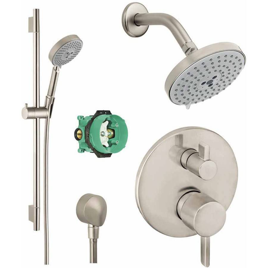 Hansgrohe KSH04447-27495-66PC Raindance Shower Faucet Kit with Handshower Wallbar PBV Trim with Diverter and Rough-In, Various Colors