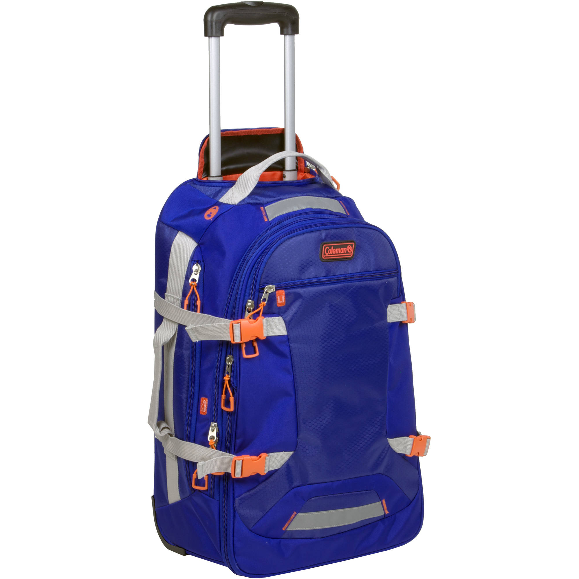 Coleman Everest Casual Upright Rolling Suitcase, Blue with Orange