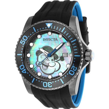 Men's Character Black Silicone Band Steel Case Automatic Blue Dial Analog Watch 24475 Black Dial Steel Band