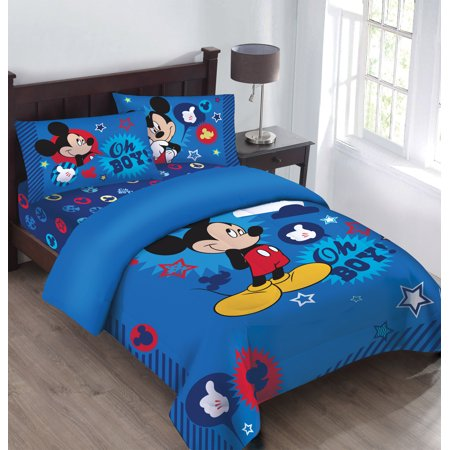 Disney Mickey Oh Boy! Gosh Licensed Comforter Set Set w/Fitted Sheet ()
