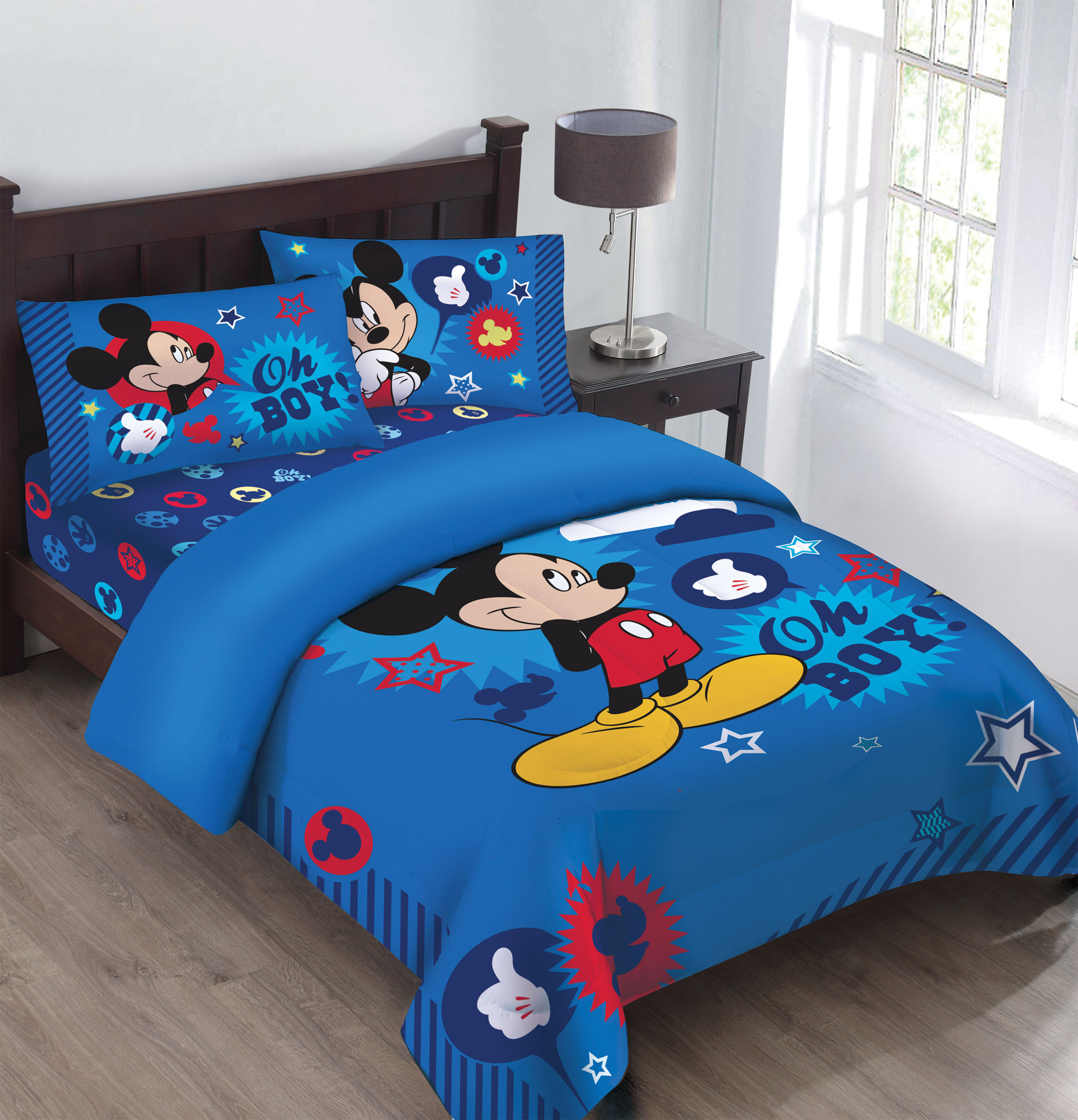 Disney Mickey Oh Boy! Gosh Licensed Comforter Set Set w/Fitted Sheet