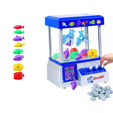 The Shark Arcade Claw Game Machine for Kids of All Ages (includes Tokens) - Crane Toy Game with Candy and Toys – Improves Coordination, Hours of Non-Stop Fun– Includes Carnival Music, and Lights