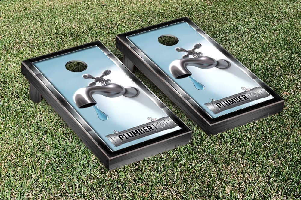 Plumbing Themed Cornhole Game Set by Victory Tailgate