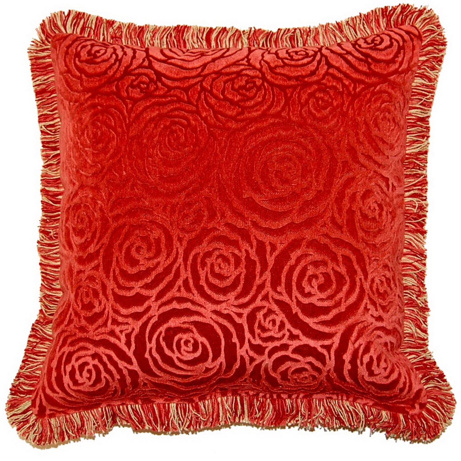 Fox Hill Trading Veronica Terracotta 17-inch Fringed Throw Pillows (Set of 2)
