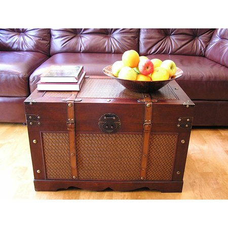 Styled Shopping Inc. Cambridge Large Wood Trunk and Wooden Treasure Chest Treasure Box Chest Trunk