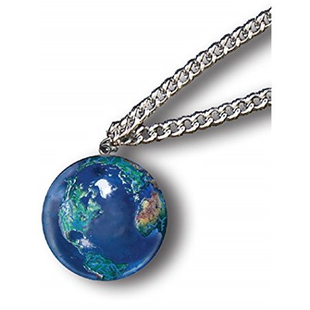Blue Earth Globe Marble Pendant on Stainless Steel Chain
