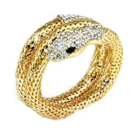 Gold Snake Bracelets - Gold Tone Snake Bracelet Crystal Serpent Anti-Tarnish Long Rhinestone Austria Jewelry J-378