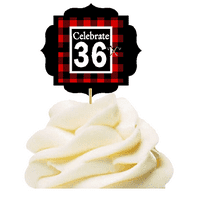 Specially Crafted 36th Birthday / Anniversary LumberJack Buffalo Plaid Novelty Cupcake Decoration Toppers / Picks -12ct