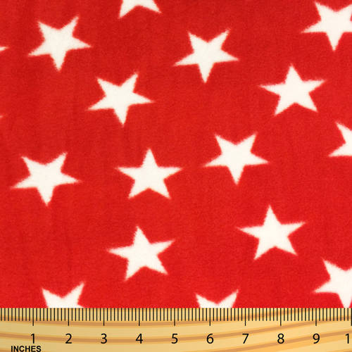 SHASON TEXTILE (2 Yards cut) POLAR FLEECE FABRIC 100% POLYESTER ANTI-PILL, Patriotic Stars, Available in Multiple Colors