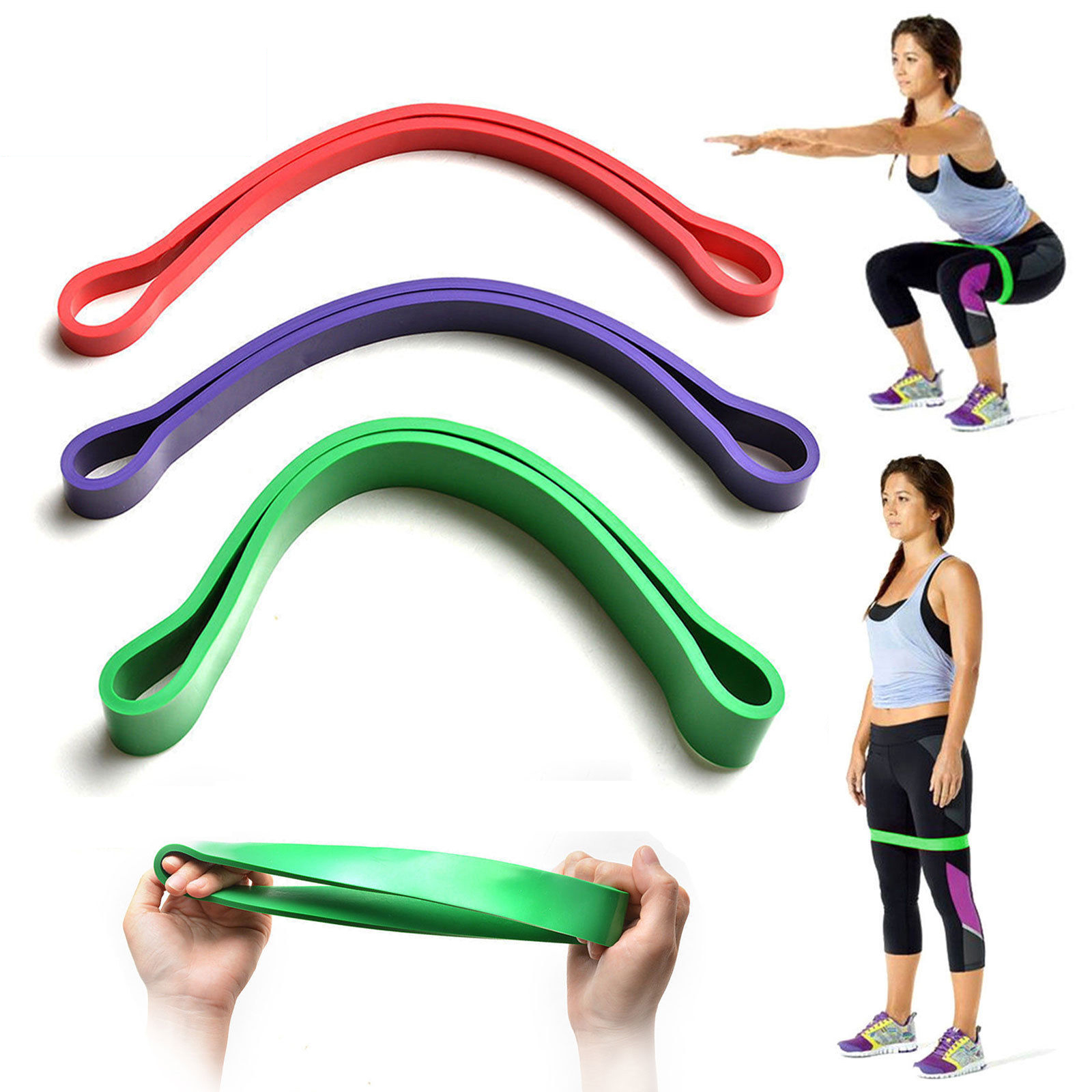 3in1 Set Heavy Duty Resistance Band Loop Exercise Yoga Workout Power Gym Fitness Sport