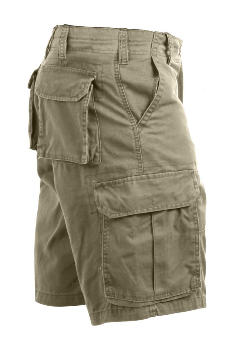 Khaki Vintage Paratrooper Style Cargo Shorts