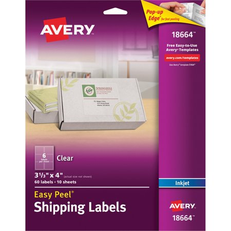 Avery Matte Clear Easy Peel Shipping Labels, Inkjet, 3 1/3 x 4, 60/Pack