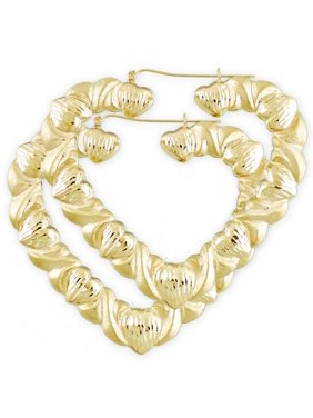 9071e94dc Product Image Large 10K Gold XO Dia-Cut Heart Hollow Hoop Earrings 3 Inch.