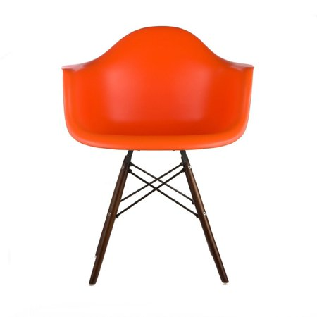 Orange - Modern Style Armchair with Walnut Wood Legs Eiffel Dining Room Chair - Lounge Chair Arm Chair Arms Chairs Seats Wooden Wood Leg Wire Leg Dowel Leg Legged Base Molded