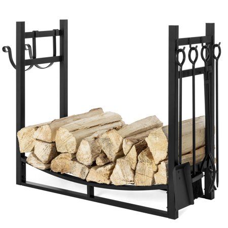 Best Choice Products 43.5in Steel Firewood Log Storage Rack Accessory and Tools for Indoor/Outdoor Fire Pit, Fireplace w/ Removable Kindling Holder, Shovel, Poker, Grabber,
