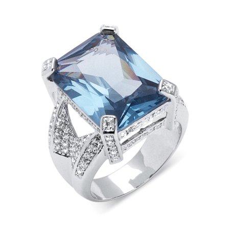 27.30 TCW Emerald-Cut Blue Cubic Zirconia Silvertone Cocktail Ring Blue Enamel Cubic Zirconia Ring