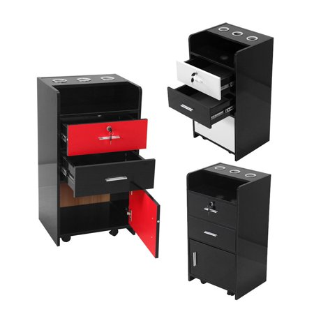 Lockable Cupboard - Zimtown Modern Wall Mount Salon Lockable Cabinet Hair Stylist Station Drawer Furniture Black / Red / White