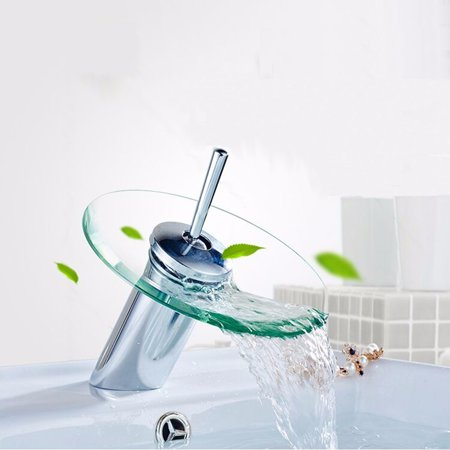 Single Hole Single-Handle Vessel Glass Waterfall Bathroom Faucet Glass Disk Glass Waterfall Bathroom Kitchen Sink Round Basin Faucet Single Lever Mixer Tap ()